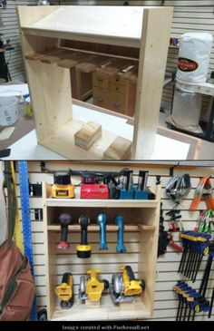 Cordless Tool Station  No back and screwed to slatwall. Blade storage hooks for the 5-1/4 and 6-1/2 Dewalt saws will hang inside the cabinet area.Blocks in lower area are for resting the saws base plates. - created via http://pinthemall.net