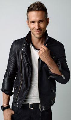 ryan reynolds | Ryan Reynolds Mens Motorbiker Black Leather Jacket