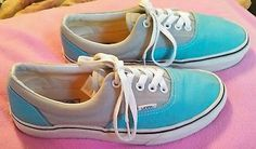 Vans Off The Wall Shoes Mens sz 6.5 Women sz 8 Teal Blue Gray Skaters Sneakers