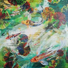 Koi, Collaboration, Oil On Canvas, Painting, Painted Canvas, Painting Art, Paintings, Paint, Draw