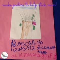 Make posters to ask people to help find Stick Man's Family Tree! #eyfs #earlyyears #stickman #aceearlyyears #eyfswriting #earlyyearswriting