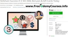 [#Udemy 100% Off] #Skillshare Success 3: Win $$$ Bonuses & Gift Cards Today   About This Course  Published 10/2016English  Course Description  Imagine with the price that you pay for this course you will get 10X more by winning bonuses that Skillshare offers.  I am having so much fun coaching new Skillshare Teachers step by step.I started teaching at Skillshare online on Dec 2015 and received my first payment on January 2016. It's been 9 months now and last month I started referring a lot of…