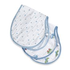Aden & Anais Burpie big.   Not your cheapest bib but these are great!  Reverable & snaps in the bag.  Great for learning to eat- covers the shoulders too!  You can also unbutton and use as a burp cloth. So soft too!