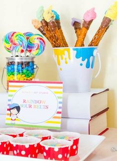 Art birthday party edible paintbrushes!  See more party ideas at CatchMyParty.com!