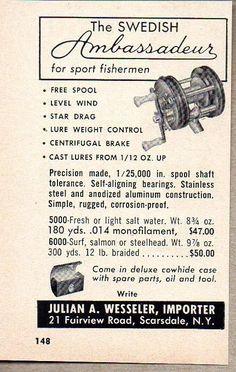 1956 Print Ad Swedish Ambassadeur Fishing Reels Wesseler Importer Scarsdale,NY #MagazineAd