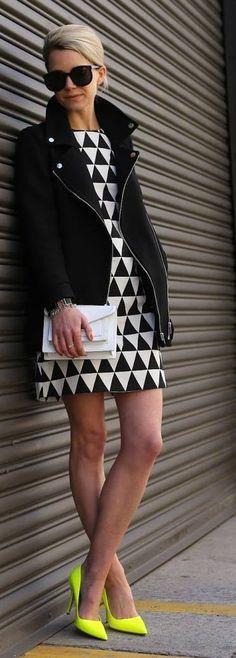 Black Zipper Jacket with Black / White Geometric dress and Yellow Neon Pumps.
