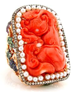 Wendy Yue carved coral + pearl ring