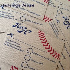 wedding invitations rsvp Jess Campbell I have a friend who could probably do the photoshop design for you, if you want! Baseball wedding invitations by Invite More Designs Vintage Wedding Invitations, Custom Invitations, Bridal Shower Invitations, Softball Wedding, Sports Wedding, Baseball Wedding Shower, Baseball Invitations, Wedding Themes, Wedding Ideas