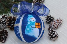Large Blue & Silver Christmas Snowman Ornament-Handmade Textile Bauble, Snowman Xmas Ball-Snowmen Christmas Tree Decoration-Xmas Blue Ball Snowman Ornaments, Handmade Ornaments, Christmas Snowman, Snowmen, Handmade Christmas, Christmas Bulbs, Xmas, Unique Gifts, Best Gifts