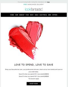 Valentine's Day Email Marketing Inspiration from Look Fantastic