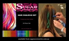 Hair chalking sets with 24 pieces for temporary hair colour that won't stain the hair. Temporary Hair Color, Hair Chalk, Hair Colour, Hair Products, Hair Accessories, Beauty, Beauty Illustration, Hair Accessory