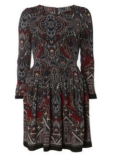 **Tenki Maroon Paisley Print Dress