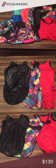 Bundle of 8 Leotards Amazing. Variety of Leotards! Girls Size Large. All in great shape. The two GK Leo's have a bit of wear, but oh so cute! Brands include GK, Freestyle Danskin, Garland Activewear, and Motion Wear Freestyle Costumes Dance