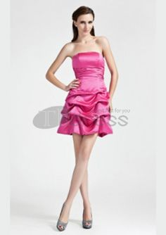 A-Line Princess Strapless Short / Mini Satin Bridesmaid Dress with Bow(s) Pick Up Skirt Ruched by Cheap Bridesmaid Dresses Online, Beautiful Bridesmaid Dresses, A Line Prom Dresses, Prom Party Dresses, Bridal Dresses, Strapless Dress Formal, Nice Dresses, Girls Dresses, Dresses 2016