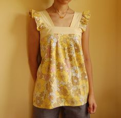 "I know it's so cold outside here, but I have a reason to make more summer tops. I'm going back to Japan for holiday in July. Yey!  Free pattern by Rae from ""Sew Mama, Sew!"" blog. Thank you!    With vintage cotton sheet."