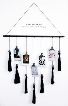 fashionlush, black & white home decor, diy wall hanging diy Room decor DIY Minimalist Wall Hanging Diy Décoration, Easy Diy, Diy Crafts, Simple Diy, Decor Crafts, Art Decor, Mur Diy, Diy Hanging Shelves, Hanging Organizer