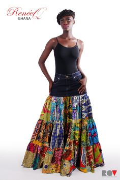 african style clothing #africanstyleclothing The ReneQ Denim & Intuma skirt. RQDIS African Fashion Skirts, African Inspired Fashion, African Dresses For Women, African Print Fashion, Africa Fashion, African Wear, African Attire, African Women, African Style