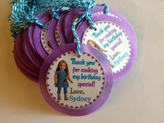 American Girl Custom Birthday Party Gift Tags Thank You Tags   DivineDecorations - Seasonal on ArtFire