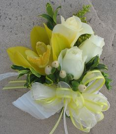 Mother's corsage - Yellow Cymbidium Orchid, pale yellow and ivory spray roses, Prom Corsage And Boutonniere, Corsage Wedding, Wedding Bouquets, Brooch Corsage, Boutonnieres, Orchid Corsages, Flower Corsage, Wrist Corsage, Prom Flowers