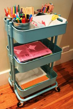 Ikea trolley makes a great mobile homework station