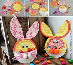 ❀ ✄ DIY Lapin Pâques Assiettes Carton / DIY Easter Bunny Paper Plate Basket ✄ ❀ http://www.creamalice.com/Coin_conseils/1-loisirs_creatifs_2014/4-Tuto_Panier_Lapin_Paques/DIY_Panier_Lapin_Assiettes_carton.htm