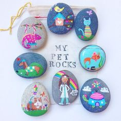 These might possibly be magical pet rocks. I can only imagine the fun stories they will help create. #petrocks #paintedrocks #storystones