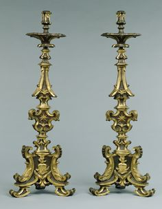 Pair of Altar Candlesticks -- Unknown Maker -- Italy; early 18th century -- Bronze, partially gilded