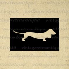 Printable Dachshund Dog Silhouette Image by VintageRetroAntique Vintage Clip Art, Vintage Artwork, Silhouette Images, Dog Silhouette, Dog Clip Art, Burlap Background, Image Digital, Antique Illustration, Digital Illustration