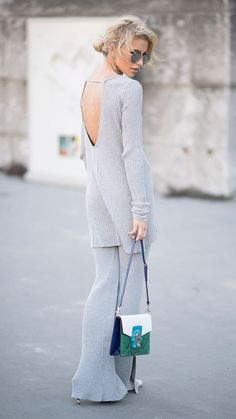 I love knit separates like this because they're as comfy as sweatpants but far more put-together. Especially with a good pair of sunglasses, a great bag, and heels! Love the open-back as well. x