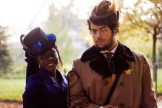 GORGEOUS navy blue afro-steampunk couple http://www.pinterest.com/TheLadyApryle/if-there-be-steam/