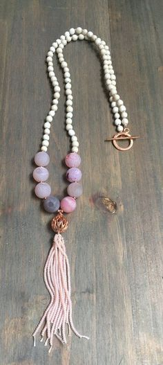 Beaded Necklace with toggle clasp and (beaded) tassel with druzy beads and