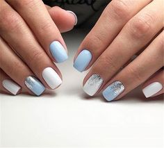 Chic und Trendy OPI Nagellack Designs Nail Polish nail polish for babies Pastel Blue Nails, Blue Gel Nails, Blue And White Nails, White Glitter Nails, White Shellac Nails, Nail Art Blue, Acrylic Nails Light Blue, Bleu Pastel, Light Nails