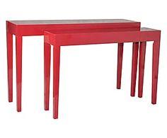 Set di 2 tavolini/consolle in paulonia Red - max 130x80x34 cm