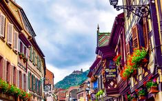 Download wallpapers France, 4k, castle, mountains, summer, Alsace, Europe