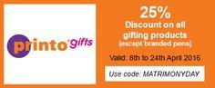 PrintoGifts celebrates #MatrimonyDay with 25% OFF on all gifts. http://bit.ly/MatrimonyDayPrintoGifts … Use code: MATRIMONYDAY