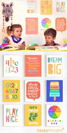 14 Printable Learning posters Educational PDF wall art posters featuring shapes, colors, days of the week, seasons, ABC, numbers and vowels. Sizes included are: • 8.5 x 11 inches (letter) • A4 or A5 • 16 x 20 inches (can also be printed at 11 x 14) Red Play, Crafty Kids, Inspiration For Kids, Happy Thoughts, Fun Learning, Nursery Wall Art, Playroom, Art For Kids, Teaching