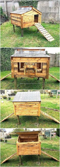 Just have a look at this wonderful Chicken coop out of recycled wooden pallets. If you want to store your own chicken at your home then this is the best wooden structure made from useless wood pallets. The slide-like wooden structure is best for the easy movement of your chickens.