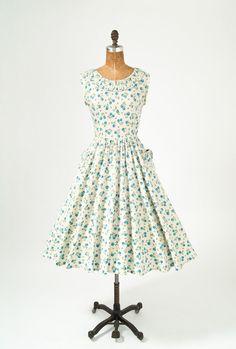 vintage 50's blue floral dress