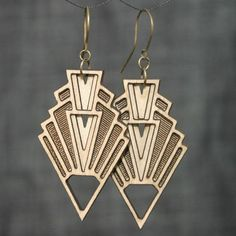 Art Deco Great Gastby Chrysler Building Wood Geometric Arrow Shaped Earrings by Diamonds Are Evil in Austin, Texas