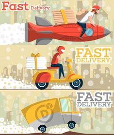 Fast Food and Pizza Delivery Flyers in Flat Style - Man-made Objects Objects