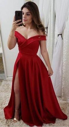 Simple Red Satin Side Slit Prom Dress 2019 Custom Made Off Shoulder Evening Party Dress Fashion Long School Dance Dress Sweet 16 Dresses, Simple Dresses, Quinceanera Dresses, Prom Dresses, Formal Dresses, School Dance Dresses, Slit Dress, Ideias Fashion, Party Dress