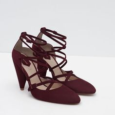 POINTED LEATHER HIGH HEEL SHOES WITH STRAPS from Zara