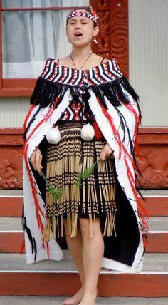 Traditional New Zealand Maori Folk Costume, Costumes, Maori People, Long White Cloud, Maori Art, Kiwiana, Polynesian Culture, People Of The World, Traditional Dresses