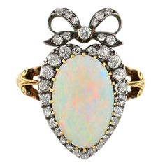 Victorian Opal Diamond Gold Crown and Heart Motif Ring   From a unique collection of vintage fashion rings at https://www.1stdibs.com/jewelry/rings/fashion-rings/