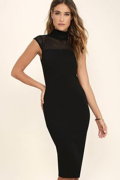 Detail Therapy Black Bodycon Midi Dress