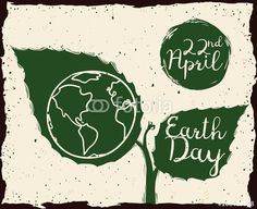 Growing Plant with Earth Day Message in Sketch Style