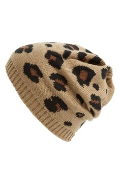 Amici Accessories Slouchy Leopard Beanie (Juniors) available at Beanie Hats, Beanies, Women's Hats, Slouchy Beanie, Cloche Hats, Snapback Hats, Leopard Spots, Cute Hats, Fashion Mode