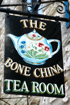 The Bone China Tea Room shingle sign.