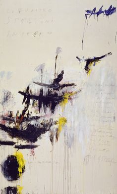 """Cy Twombly. The Four Seasons: Spring, Summer, Autumn, and Winter. 1993-94. Synthetic polymer paint, oil, house paint, pencil and crayon on four canvases. Spring 10' 3 1/8"""" x 6' 2 7/8"""" (312.5 x 190 cm), Summer 10' 3 3/4"""" x 6' 7 1/8"""" (314.5 x 201 cm), Autumn 10' 3 1/2"""" x 6' 2 3/4"""" (313.7 x 189.9 cm), Winter 10' 3 1/4"""" x 6' 2 7/8"""" (313 x 190.1 cm). Gift of the artist. 613.1994.a-d. ©..."""