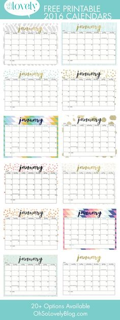 Here are 20 free printable 2016 calendars that you can print out and customize. Weekly, monthly and yearly calendars, cute calendars, food calendars.. a collection of free printable calendars for you to use.: